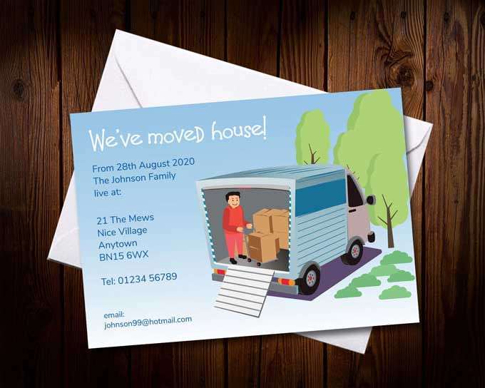 Moving Cards? Let everyone know that you have moved or are moving with Classic Publishing Printed Moving Cards - supplied with FREE  white envelopes. Printed change of address cards are essential when you move house