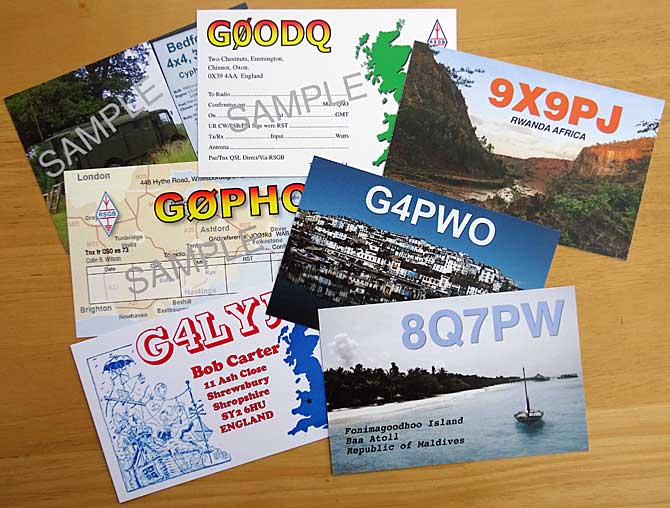 Radio Amateur Printed RSGB QSL cards - send and receive QSL cards as a confirmation of contact | RSGB standard size QSL cards are 140mm x 90mm